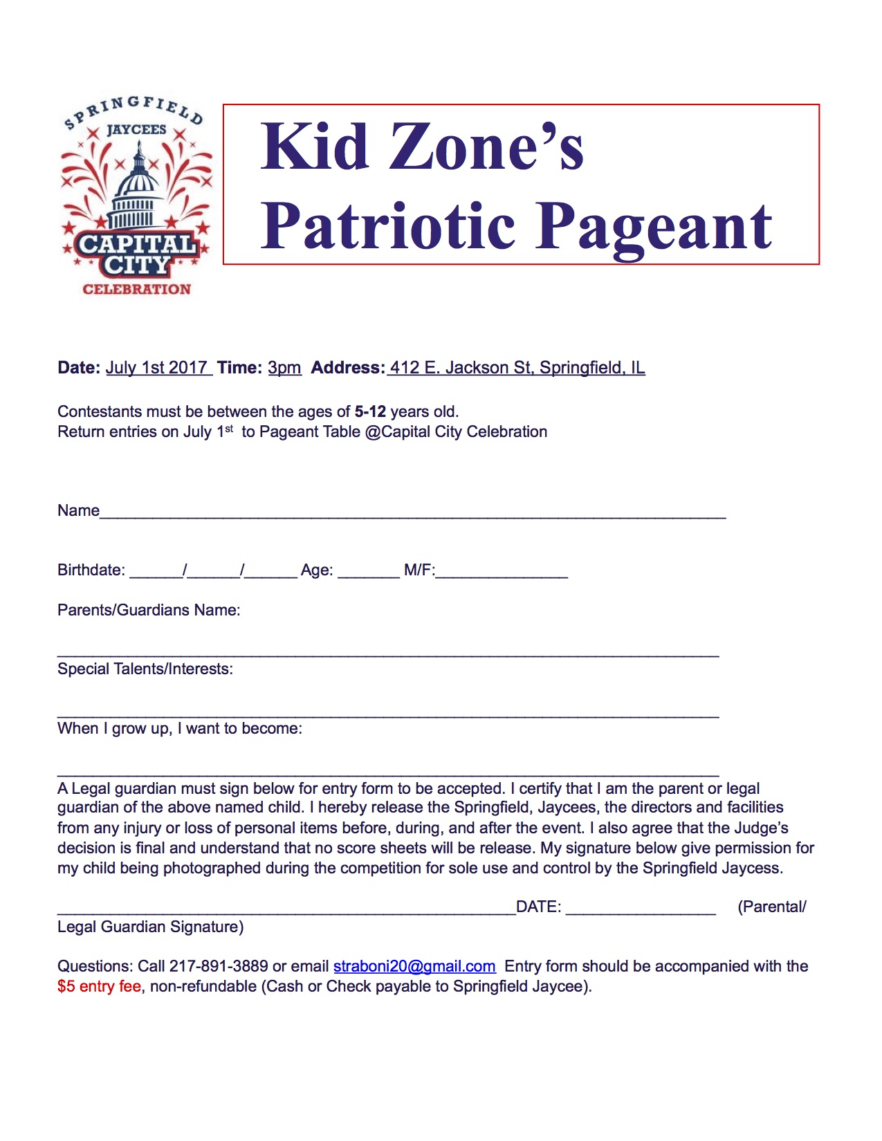 Springfield Jaycees Pageant Form